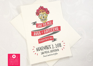 Reversed with no dark background Skull Wedding Save the Dates