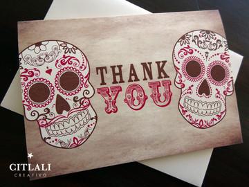 Distressed Calaveras Gracias or Thank You Cards