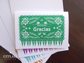Colorful Papel Picado Gracias or Thank You Cards Mexican Banner