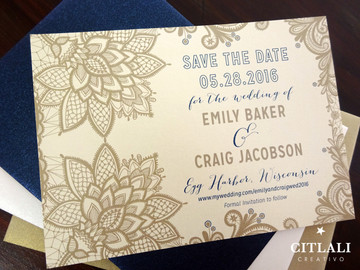 Ornate Lace Save the date in Gold & Navy