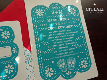 Teal & Red Papel Picado Wedding Invitations with Sugar Skulls