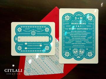 Teal & Red Papel Picado Wedding Invitations with Sugar Skulls