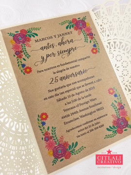 Mexican Embroidery Kraft & Ivory Lace Laser Cut Wedding Invitations
