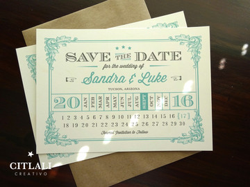 Vintage Flourish Calendar Wedding Save the Dates