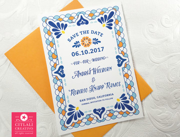 Talavera Spanish Tile Wedding Announcements paired with an upgraded orange envelope