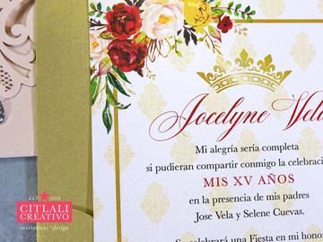Gold Leaf Rhinestone Laser Cut Floral Roses XV Invitations