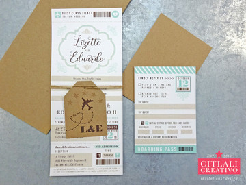 First-Class Boarding Pass Ticket Wedding Invitations + Luggage tag