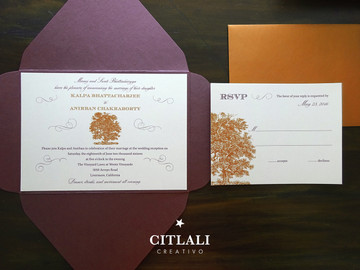 Plum & Copper Old Oak Tree Diamond & Wax Seal Pocket Wedding Invitations