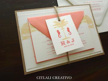 Kraft & Coral Palm Tree Wedding Invitations with Twine Monogram Tag