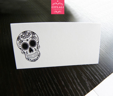 Black Sugar Skull Tent Style Place cards