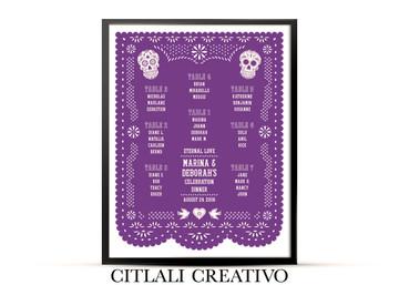 Papel Picado Sugar Skulls Purple Wedding Reception Seating Chart