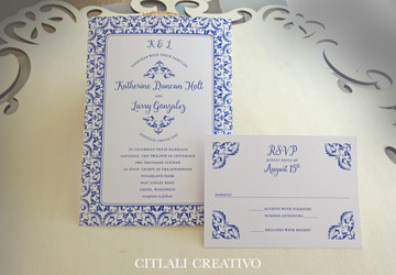 Blue Spanish Style Wedding Invitations