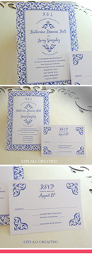Blue Talavera Spanish Tile Wedding Invitations