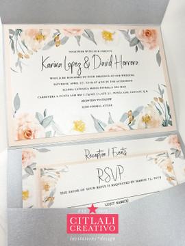 Blush Peach Florals Pocket Wedding Invitations, Printed Invites in Silver Pocket Folder