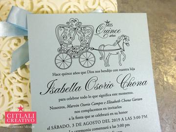 Horse & Carriage Blue Rhinestone Laser Cut Ribbon Invitations