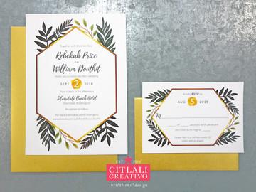 Botanical Greenery + Gold Geometric Border Wedding Invitations
