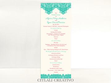 Floral Paisley Border Wedding Ceremony Programs