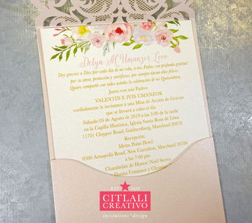 Rhinestone Diamond Laser Cut Quinceañera Invitations