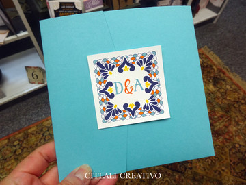 Turquoise Pocket Talavera Spanish Tile Wedding Invitations