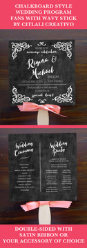 Chalkboard Style Flourish Fan Programs with Wooden Stick Handle