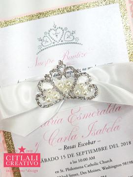 Rose Laser Cut + Crown Tiara Rhinestone Ribbon Baptism Invitations