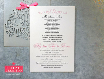 Fancy Dress Girl Laser Cut Quinceañera Invitations with Hot Pink Bow