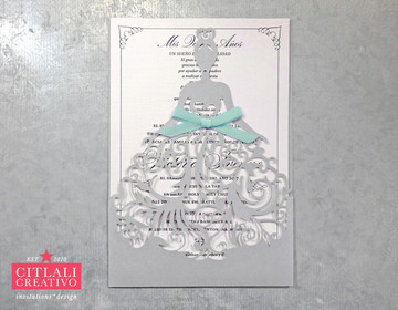 Fancy Dress Girl Laser Cut Quinceañera Invitations with Aqua Bow