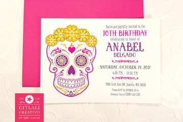 Floral Crown Sugar Skull Birthday Party Invitations