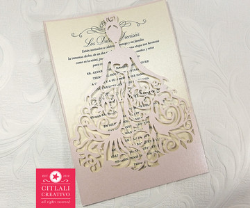 Blush & Champagne Elegant Dress Girl Lasercut Sweet 16 Invitations