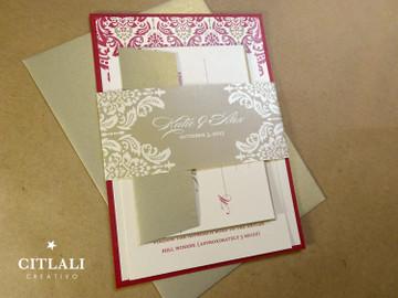 Gold Leaf & Dark Red Damask Wedding Invitations package