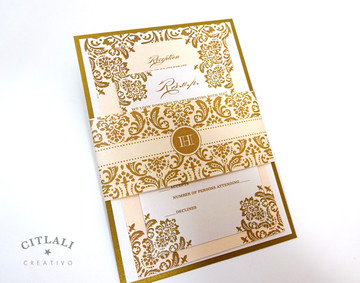 Antique Gold & Peach Damask Wedding Invitations package