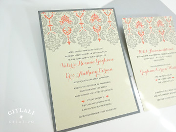 Silver & Coral Damask Wedding Invitations package