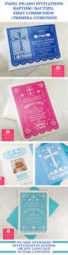 Papel Picado Baptism Bautizo Invitaciones - Citlali Creativo Variety Papel Picado invitation Designs - made to order @citlalicreativo & ship to you!