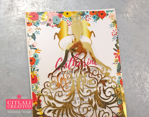 Gold Foil Charro Horses & Castle XV Laser Cut Dress Girl Invitations