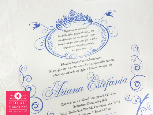 Fairytale Crown Quinceañera (Translucent) Fiesta Invitations