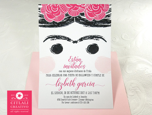 Frida Birthday / Halloween Fiesta Invitations