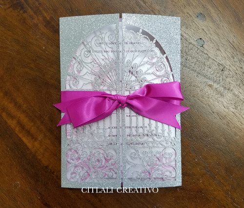 Glitter Laser cut Scroll Folder Bat Mitzvah Invitations