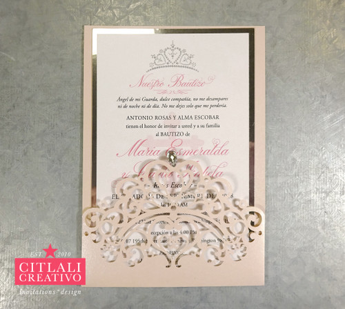 Tiara Crown Laser Cut Baptism Invitations