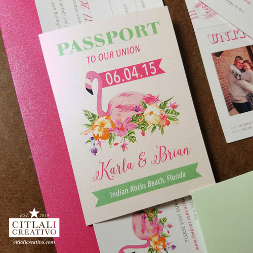 Flamingo Passport + Boarding Pass Beach Wedding Invitations