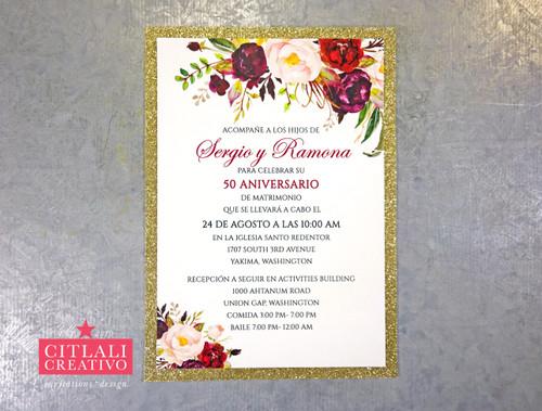 Glitter and Roses Wedding Anniversary Invitations