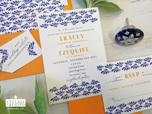 Spanish Talavera Tile Blue & Orange  Wedding Invitations