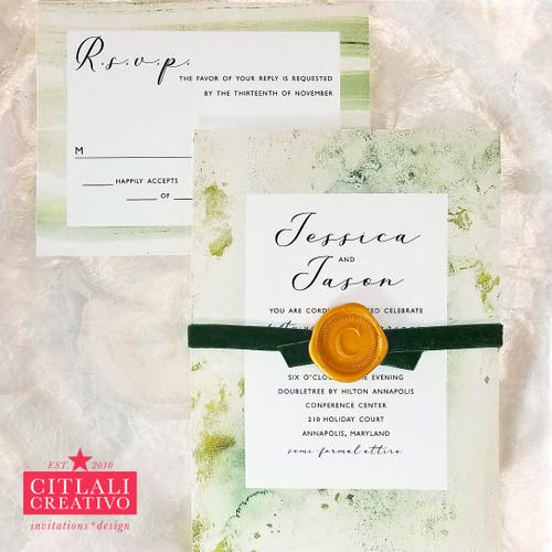 Green Marble Velvet Ribbon Wax Seal Wedding Invitations