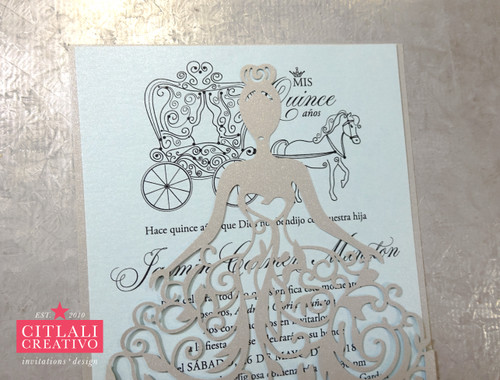 Silver Dress Girl + Blue Printed XV Laser cut Invitations