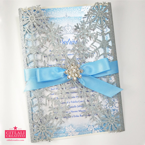Silver Glitter Snowflake Winter Wonderland XV Invitations