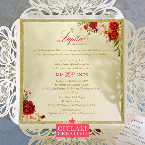 Gold Glitter & Watercolor Roses Laser Cut Invitations
