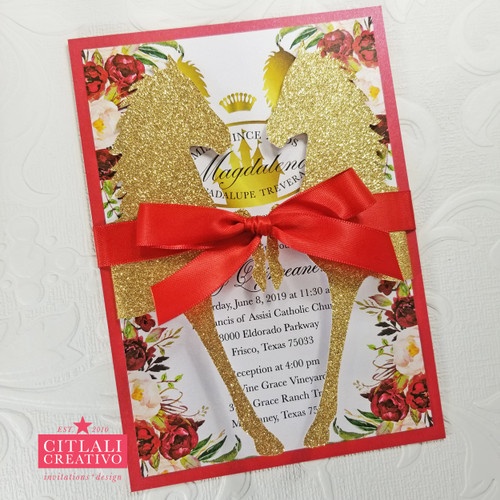 Red & Gold Charra Floral Roses XV Invitations with Glitter Horses