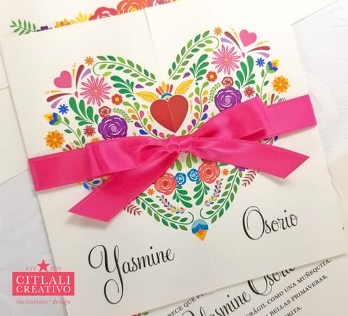 Mexican Embroidery Floral Heart Tri-fold Quinceañera XV Invitations
