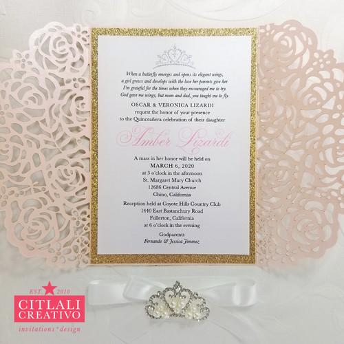 Quinceañera Laser Cut + Tiara Rhinestone + Ribbon Invitations