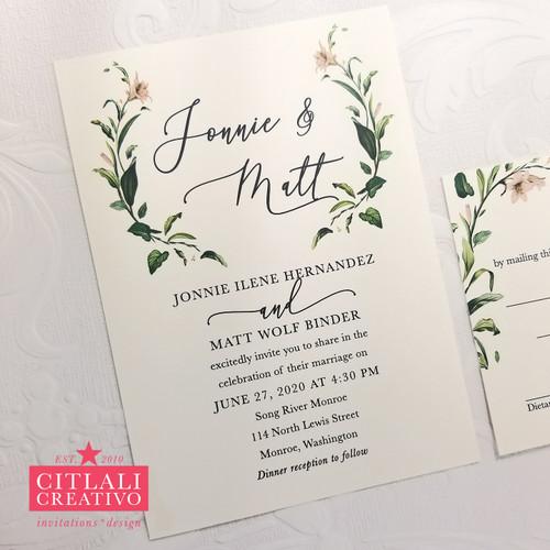 Elegant Script + Delicate Branches Wedding Invitations