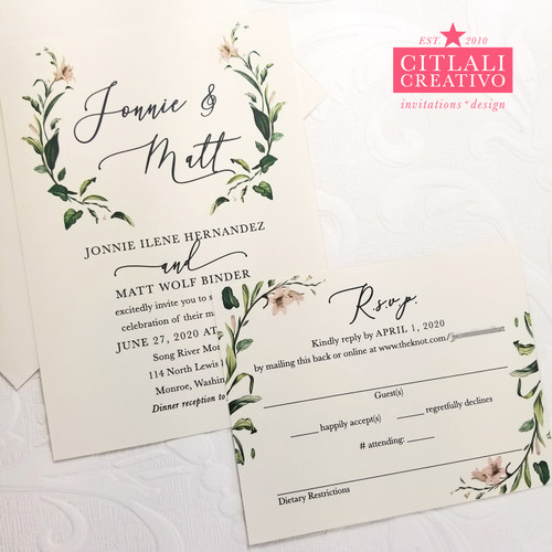 Elegant Script + Delicate Branches Wedding Invitations